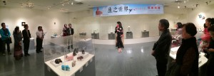 "Linda Mihara, Co_curator, talking at the opening of ""Origami Living World"""